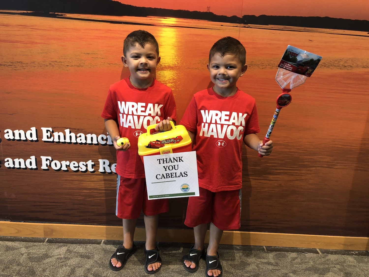 Nico and Mateo Tran Cars Fishing Package Winners